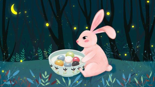 lantern festival rabbit yuan zhen forest llustration image