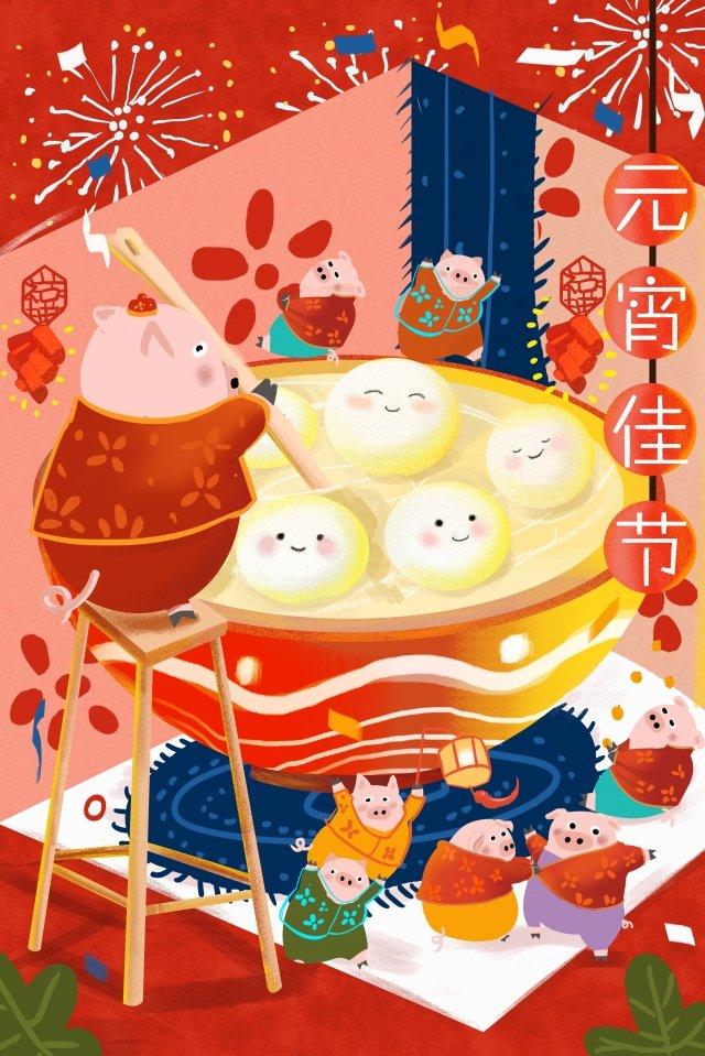 ランタンフェスティバル唐源と豚花火中国風 イラスト素材