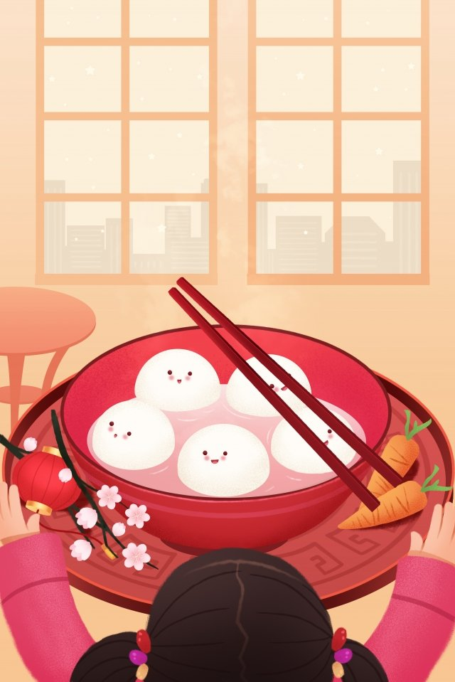 제등 축제 tangyuan spring festival at 삽화 소재