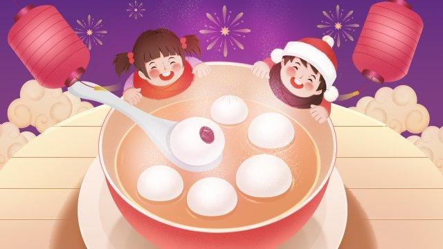 제등 축제 tangyuan spring festival 랜턴 삽화 소재 삽화 이미지