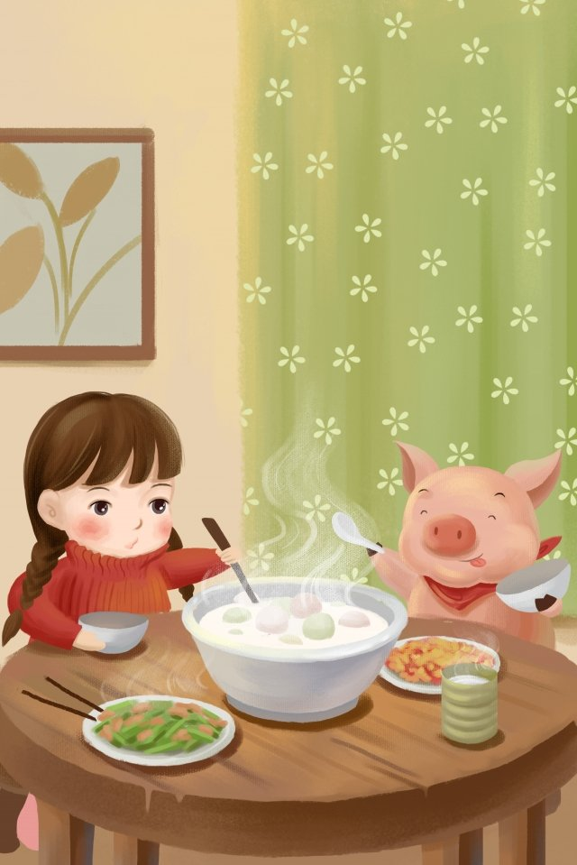 暖かい豚のランタンフェスティバル唐元年 イラスト素材