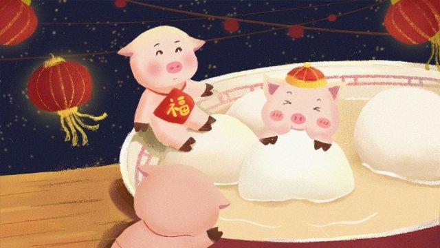 豚素敵な中華風のランタンフェスティバルの年 イラスト素材 イラスト画像