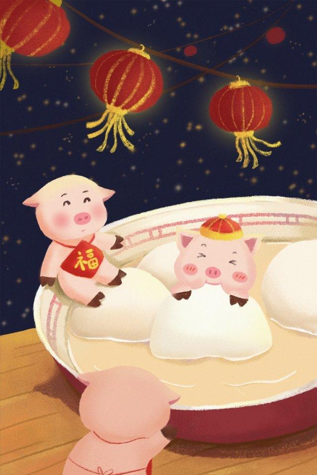 豚素敵な中華風のランタンフェスティバルの年 イラスト素材