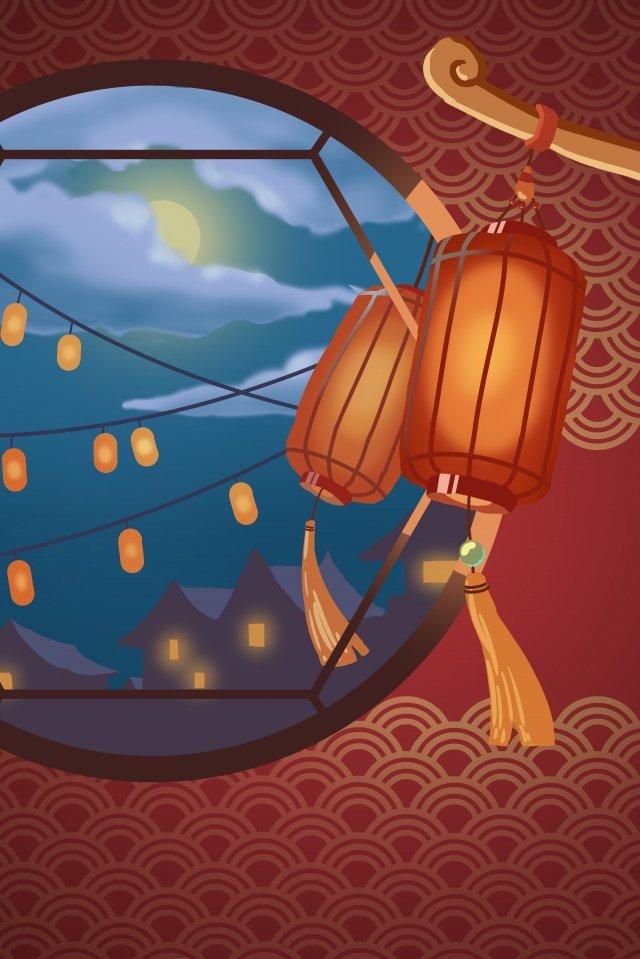 lantern festival yuan zhen flower light lantern illustration image