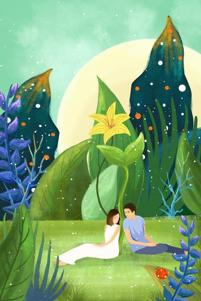 草坪花情侶男孩 插畫素材 插畫圖片