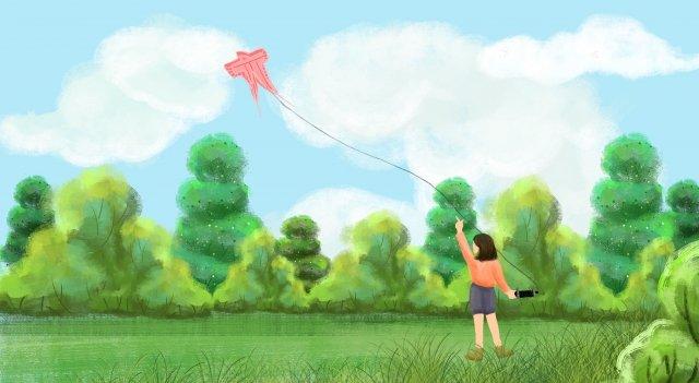 잔디 초원 나무 연 삽화 소재 삽화 이미지