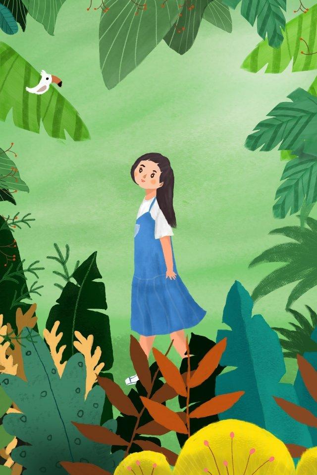 leaves little bird little girl cartoon wind illustration image