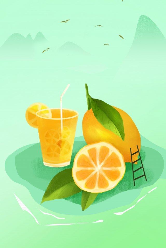 lemon fruit green summer, Lemon, Fruit, Green illustration image