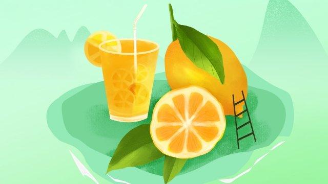檸檬果綠色夏天 插畫素材