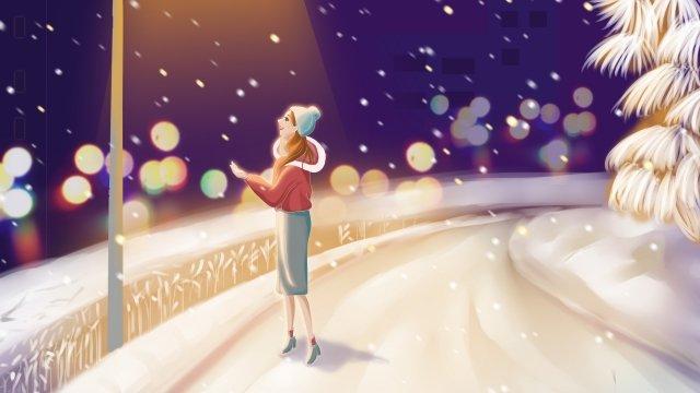 가벼운 눈이 하루 dimly 조명 거리의 빛을보고 눈 삽화 소재