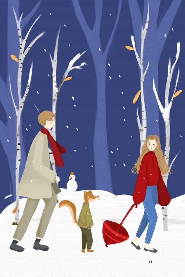light snow solar terms snowy day hand drawn illustration llustration image