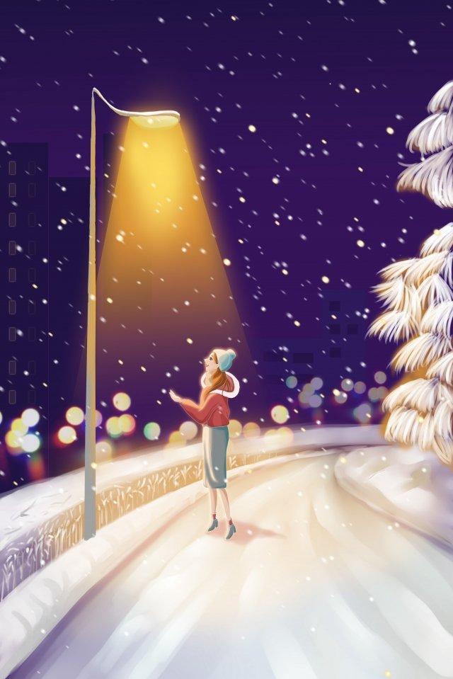light snow winter dimly lit street light watching snow, Illustration, Snow, Streetlight illustration image