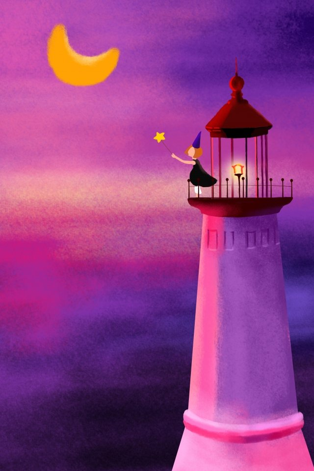 灯台夜空紫夕焼けグロー イラスト素材 イラスト画像
