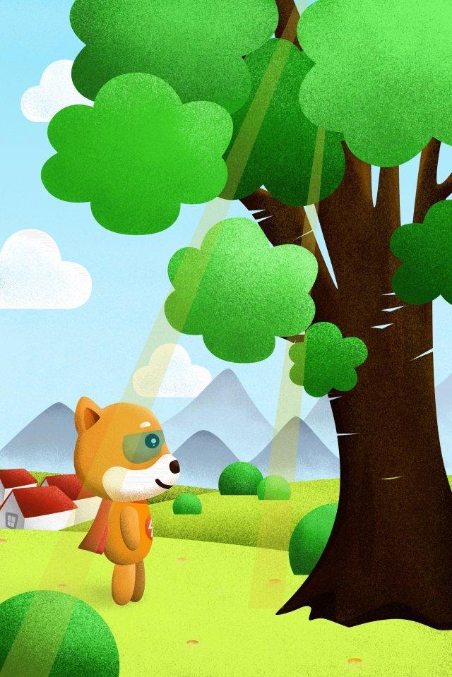 lightning puppy look up sunlight tree, Gap, Grassland, Sky illustration image