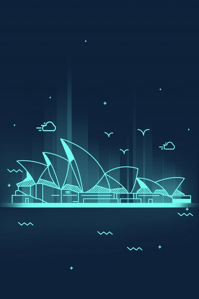 line cartoon landmark building, Sydney, Opera, Australia illustration image