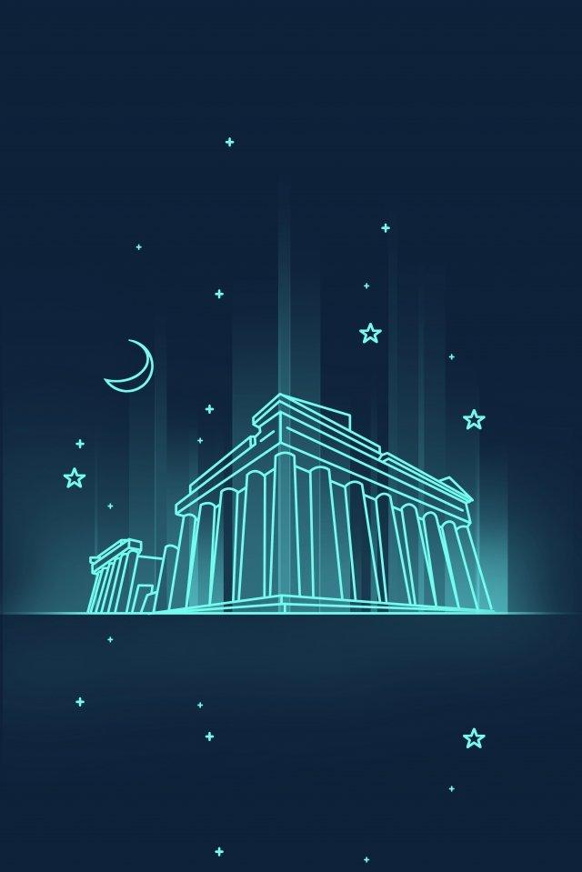 line cartoon landmark building, Greece, Parthenon, Night View illustration image