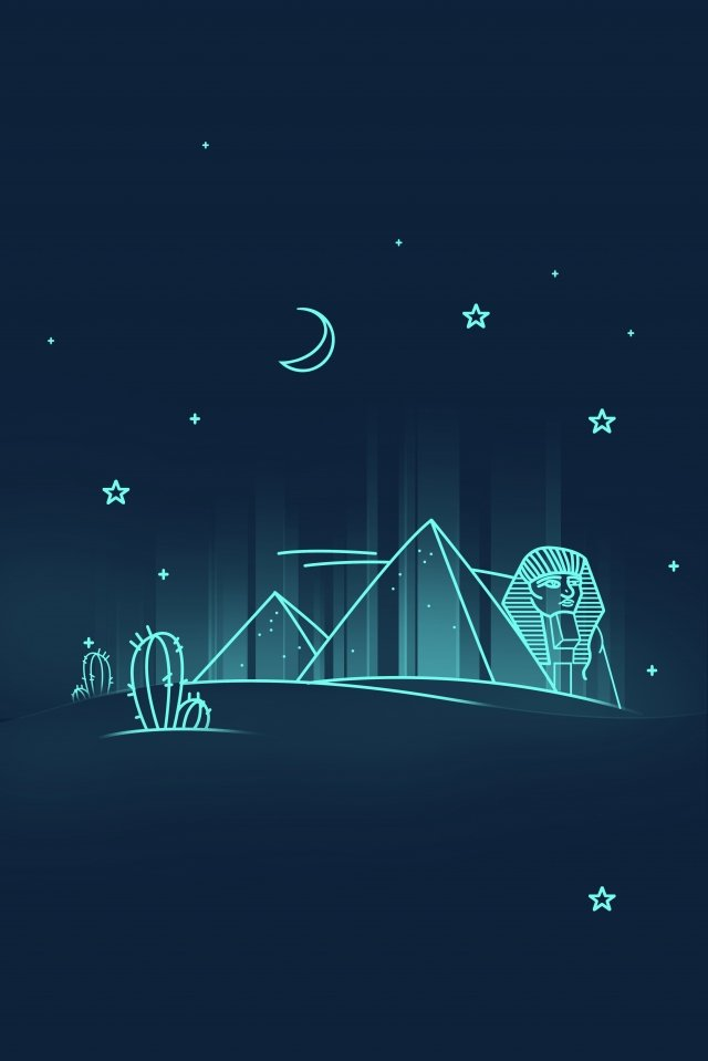 line egypt landmark building pyramid, Places Of Interest, Night View, Building illustration image