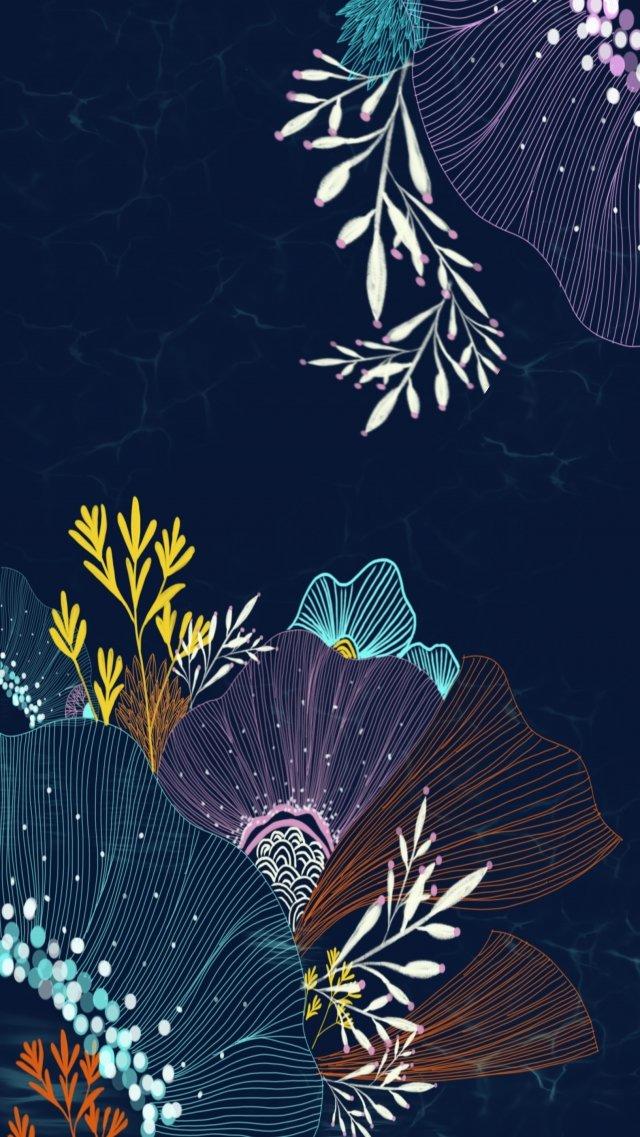 line flowers seabed blue, Pink, Orange, Home Textile illustration image