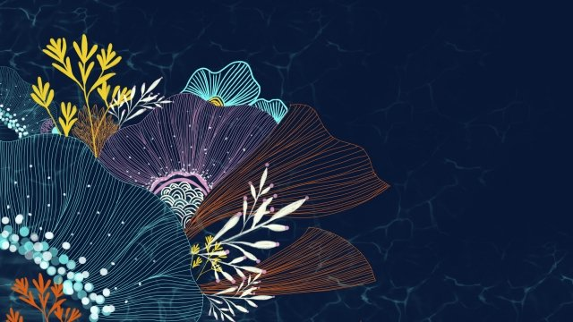 line flowers seabed blue, Pink, Orange, Home Textile illustration image