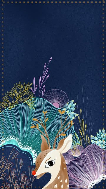 line flowers seabed blue, Sika Deer, Seabed, Art illustration image