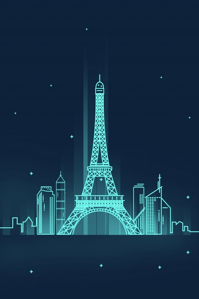 line france paris eiffel tower, City, Night View, Landmark illustration image