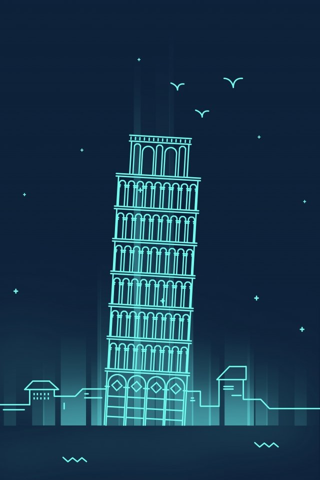 line italy pisa city cathedral, Leaning Tower Of Pisa, Clock Tower, Places Of Interest illustration image