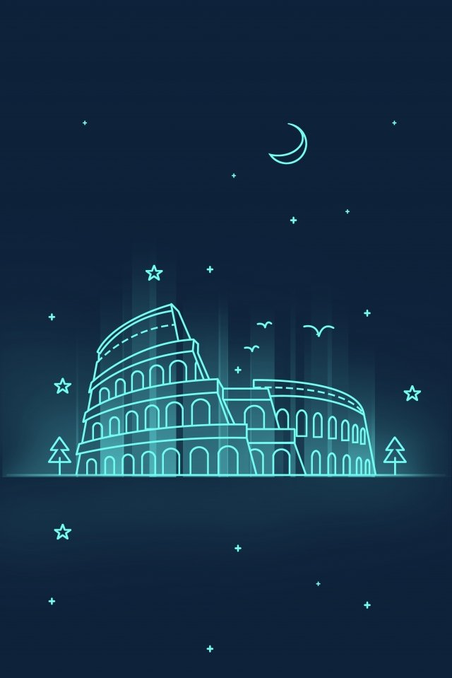 line landmark building ancient colosseum night view, Colosseum, Sign, Leisure illustration image