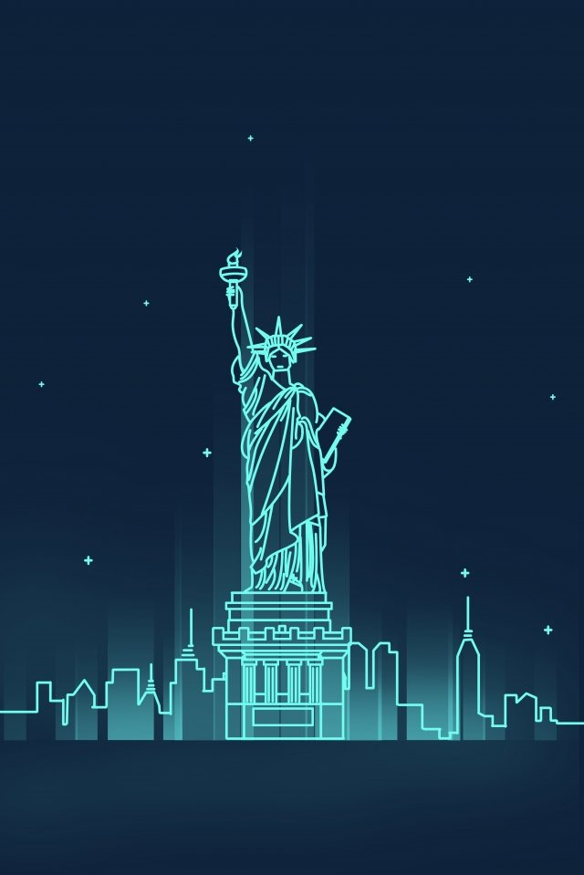 line united states new york landmark building llustration image