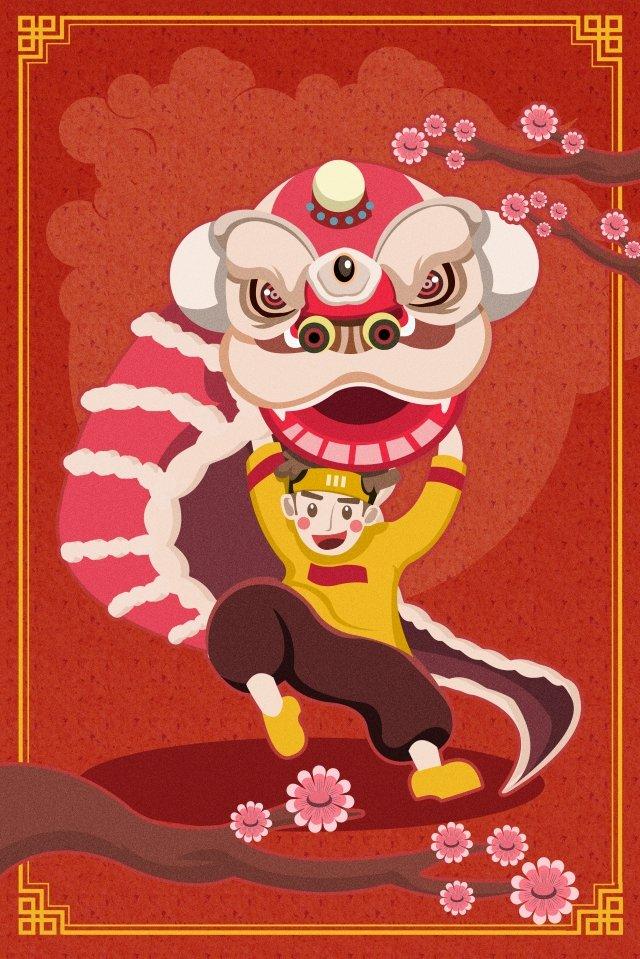 lion dance spring festival 2019 new year illustration image