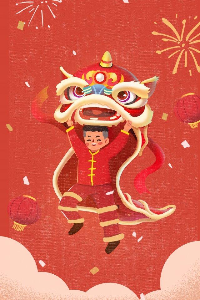 lion dance spring festival new year celebrate llustration image illustration image