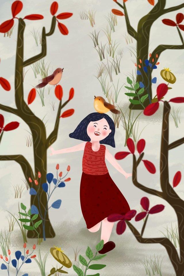 小さな鳥の女の子の森の芝生 イラスト素材