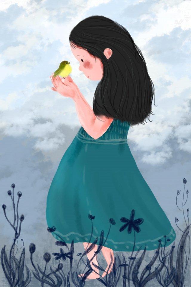 छोटी चिड़िया लड़की घास का मैदान चित्रण छवि चित्रण छवि