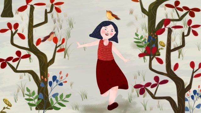 小鳥の女の子木森 イラストレーション画像