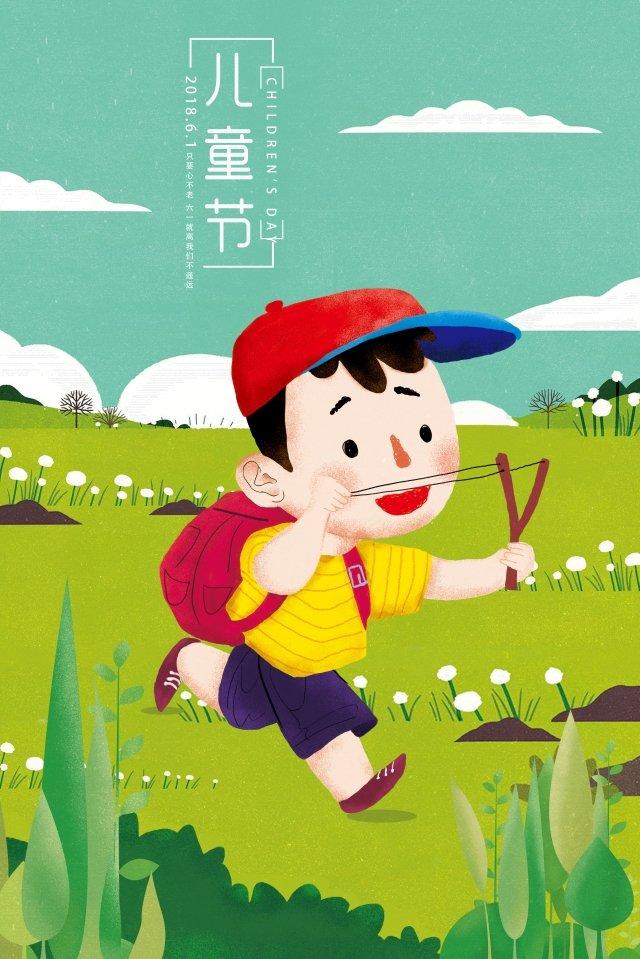 little boy illustration sky cloud, Plant, Flower, Hat illustration image