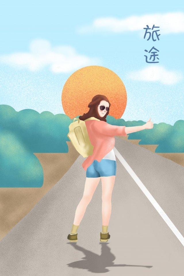 어린 소녀 배낭 패키지 태양 삽화 소재