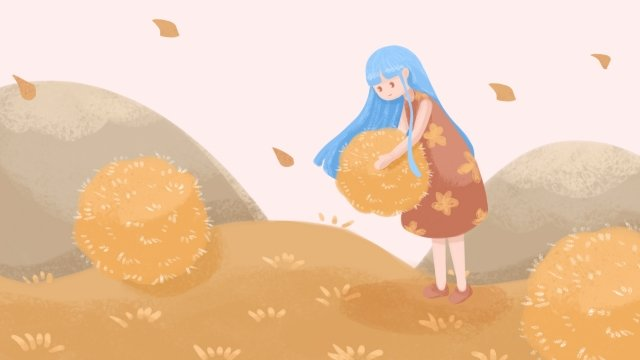 little girl fall pile of leaves fallen leaves, Yellow, Illustration, Little Girl illustration image