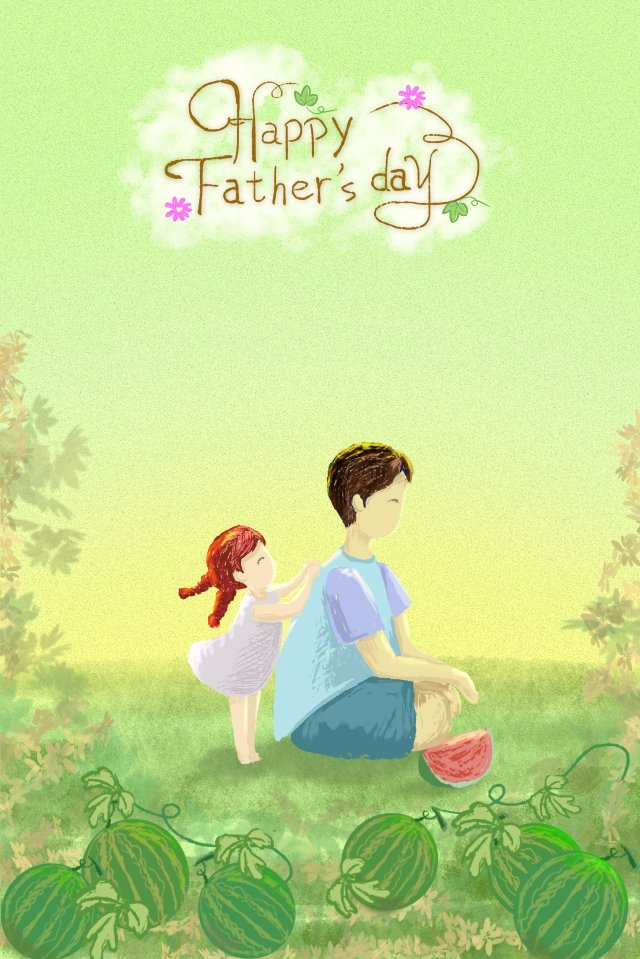 little girl fathers day father back illustration image