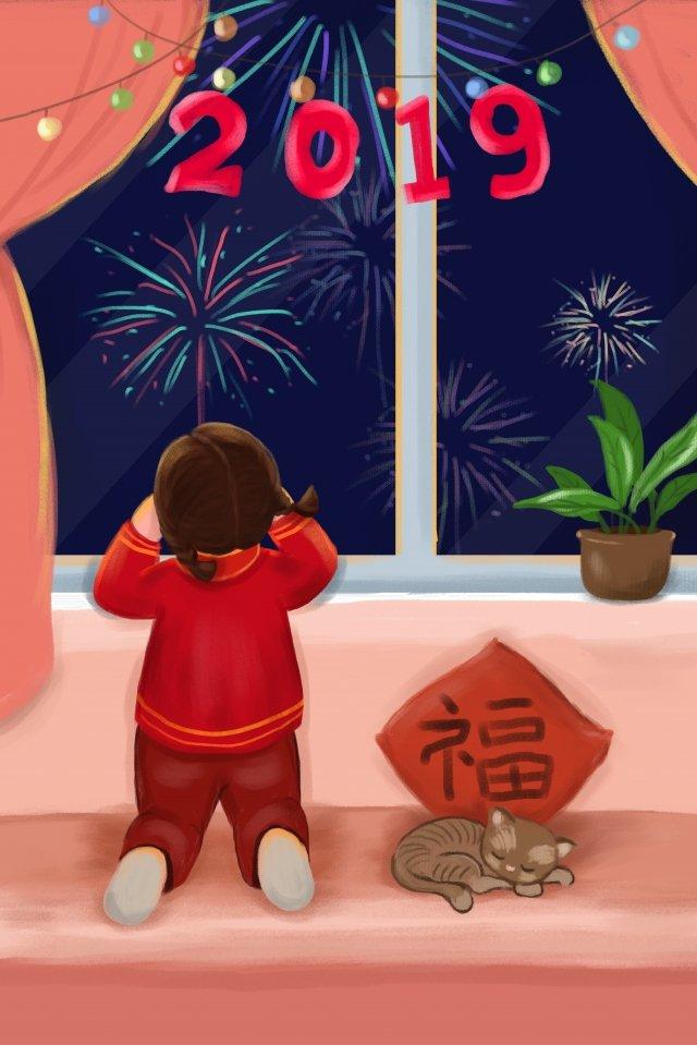 menina festiva relógio fogos de artifício ano novo Material de ilustração