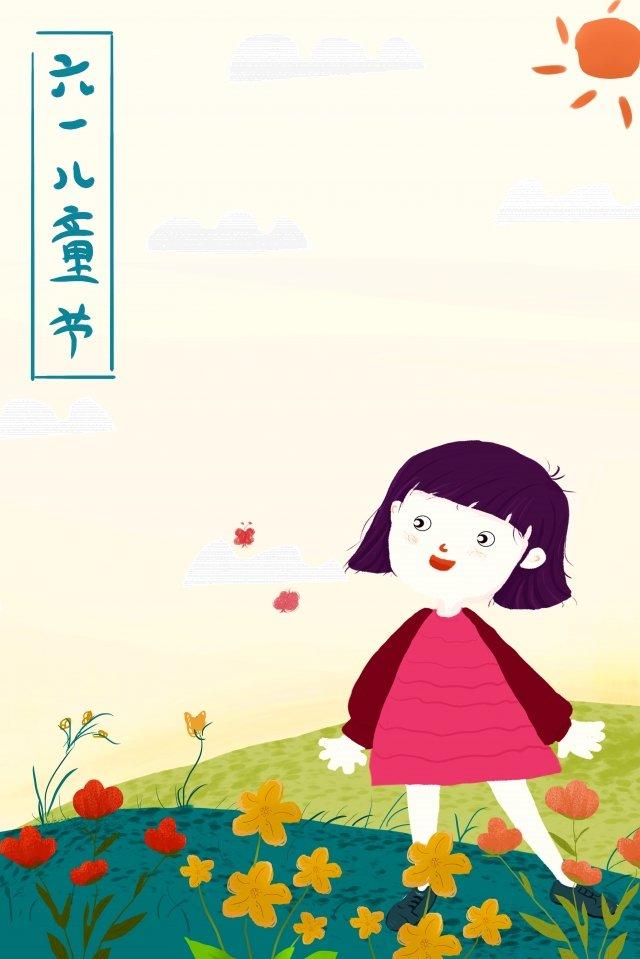 小女孩花草草原 插畫圖片