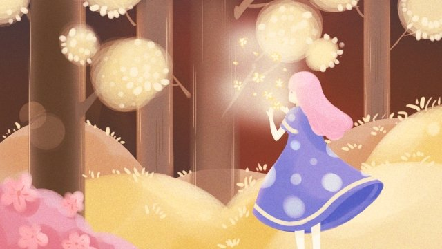 छोटी लड़की फूल वन संयंत्र चित्रण छवि
