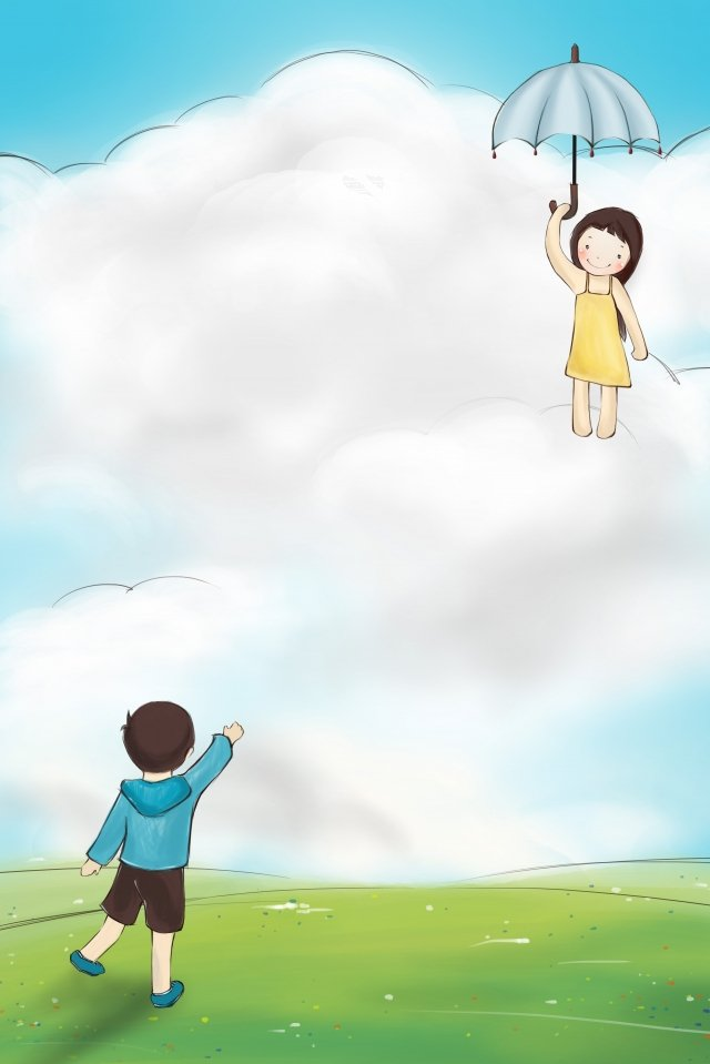 little girl landing with an umbrella little boy waving on the lawn grassland cloud, Cartoon, Romantic, Love illustration image