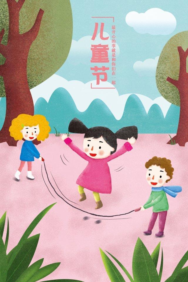 little girl little boy illustration tree, Plant, Cloud, Mountain illustration image
