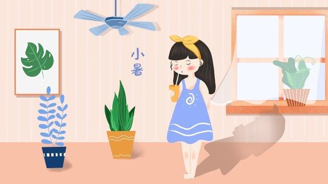 飲み物を飲む女の子鉢植えの植物天井ファン イラストレーション画像