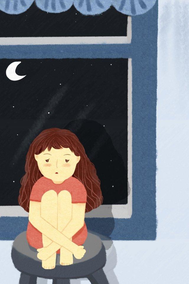 cô bé cô đơn buồn một người Hình minh họa Hình minh họa