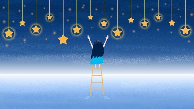 छोटी लड़की तारे सीढ़ीदार आसमानी लड़की चित्रण छवि