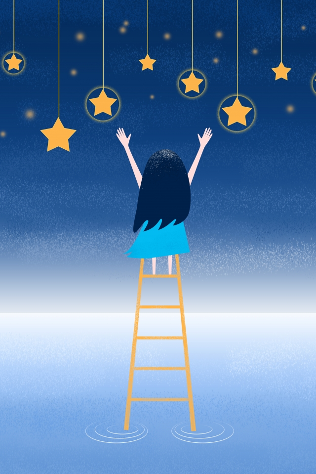 little girl picking stars ladder starry sky girl, Teenage Girl, Picking Stars, Star illustration image