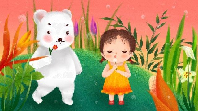 little girl polar bear childrens day hand painted llustration image