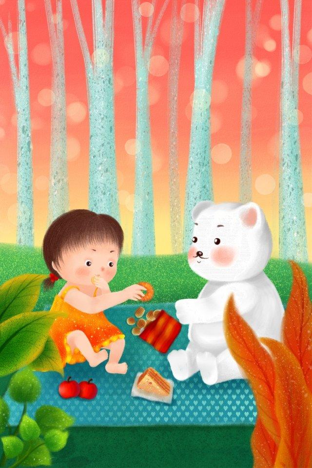 little girl polar bear hand painted childrens day illustration image