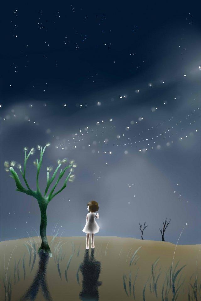little girl tree illustration night sky, Night View, Starlight, Star illustration image