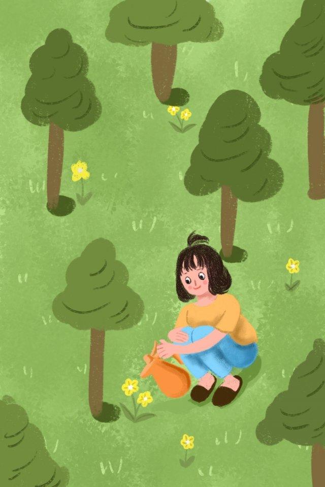 छोटी लड़की पानी के फूल हरे जंगल चित्रण छवि